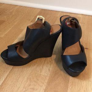 BC footwear black wedges size 5
